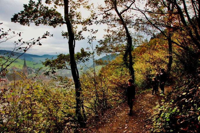 Auf dem in herbstlichen Farben gekleideten Walderlebnispfad in Oberharmersbach ...