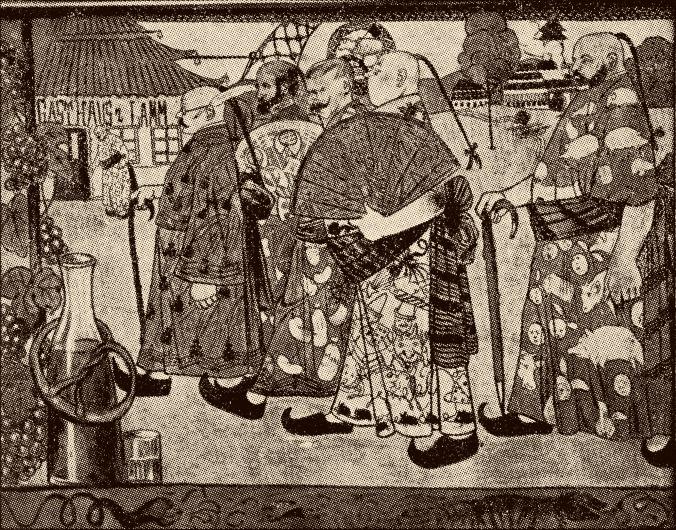 """Chinesen  auf dem Weg ins Gasthaus """"Lamm"""": Der in Emmendingen geborene Künstler Fritz Boehle hielt in diesem Bild eine Episode fest, in die er selbst verwickelt war.  Repro: Anselm Bußhoff"""