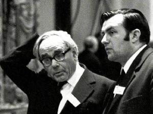 Karl Rahner (links) und Karl Lehmann 1973 auf der Synode in Würzburg. Bild: Harald Oppitz